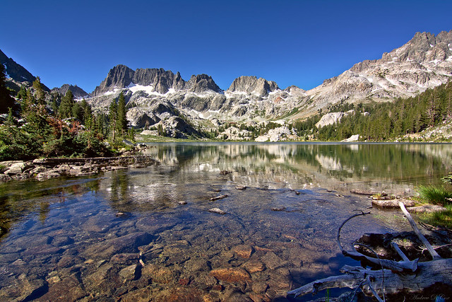 A lake lying below the Minarets in the Ansel Adam Wilderness Inyo National Forest