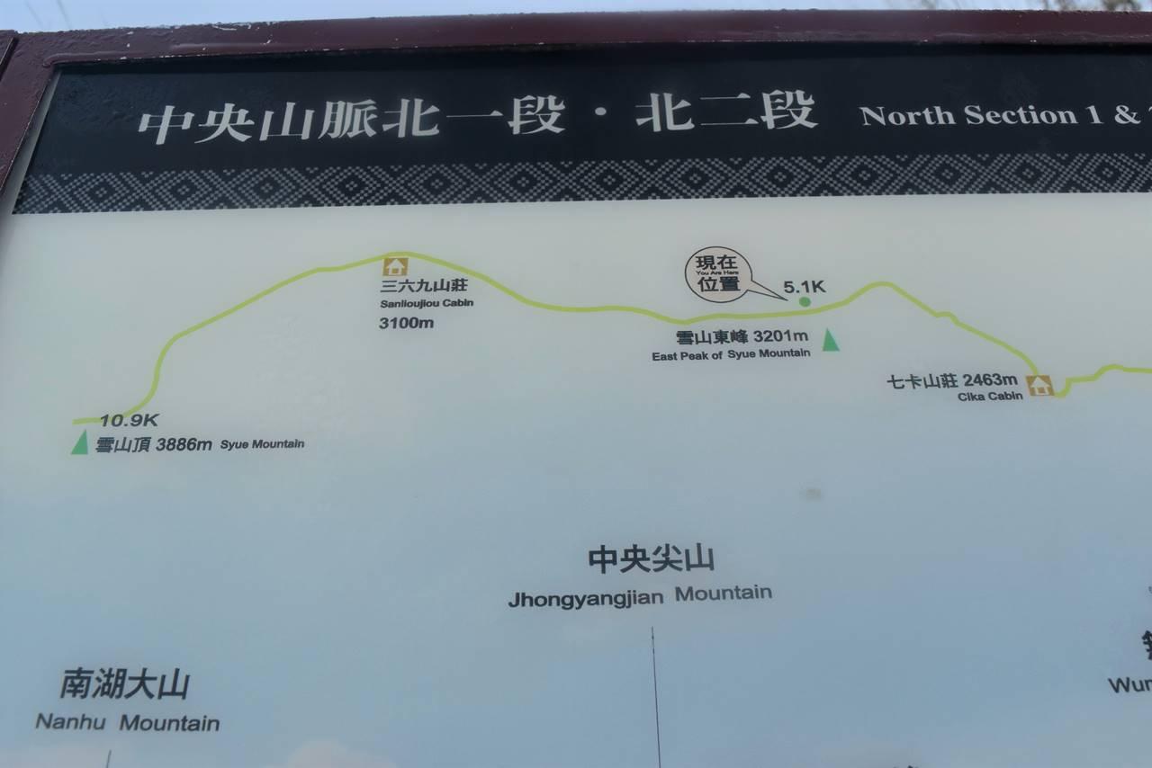 台湾・雪山 東峰分岐の地図