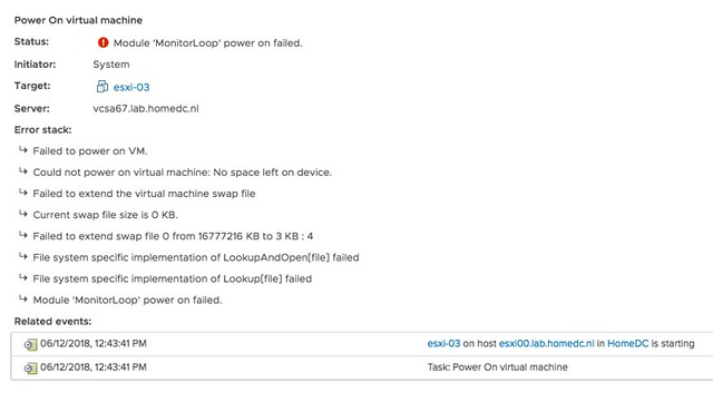 Module MonitorLoop power on failed error when powering on VM on