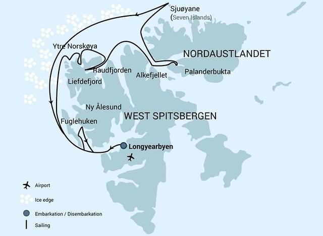 Mapa del crucero que voy a hacer en Svalbard para ver osos polares