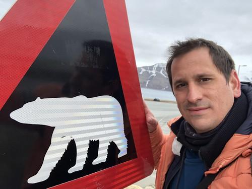 Sele junto al cartel que avisa de osos polares en Svalbard