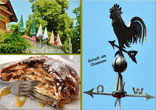 Apfelstrudel mit Blick auf den Chiemsee ... Honigsauce ... Gstadt am Chiemsee ... Foto: Brigitte Stolle