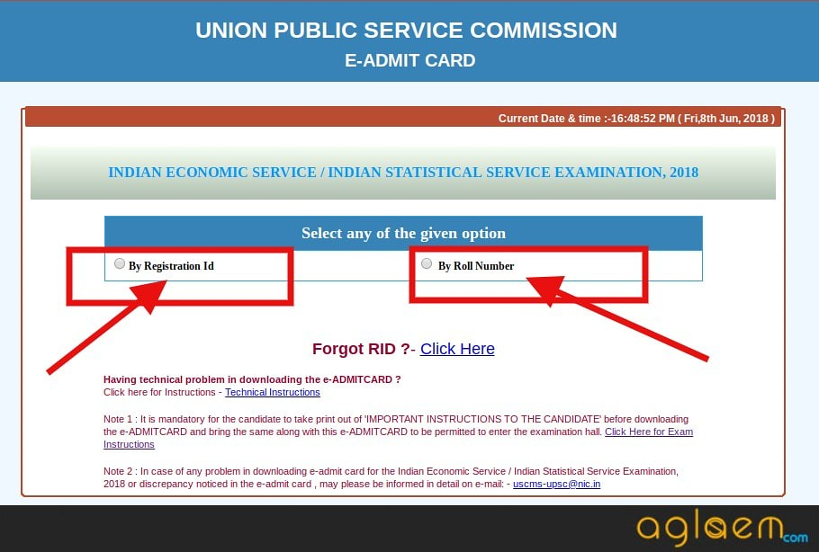 UPSC IES / ISS 2018 Admit Card (Available)   Download Here