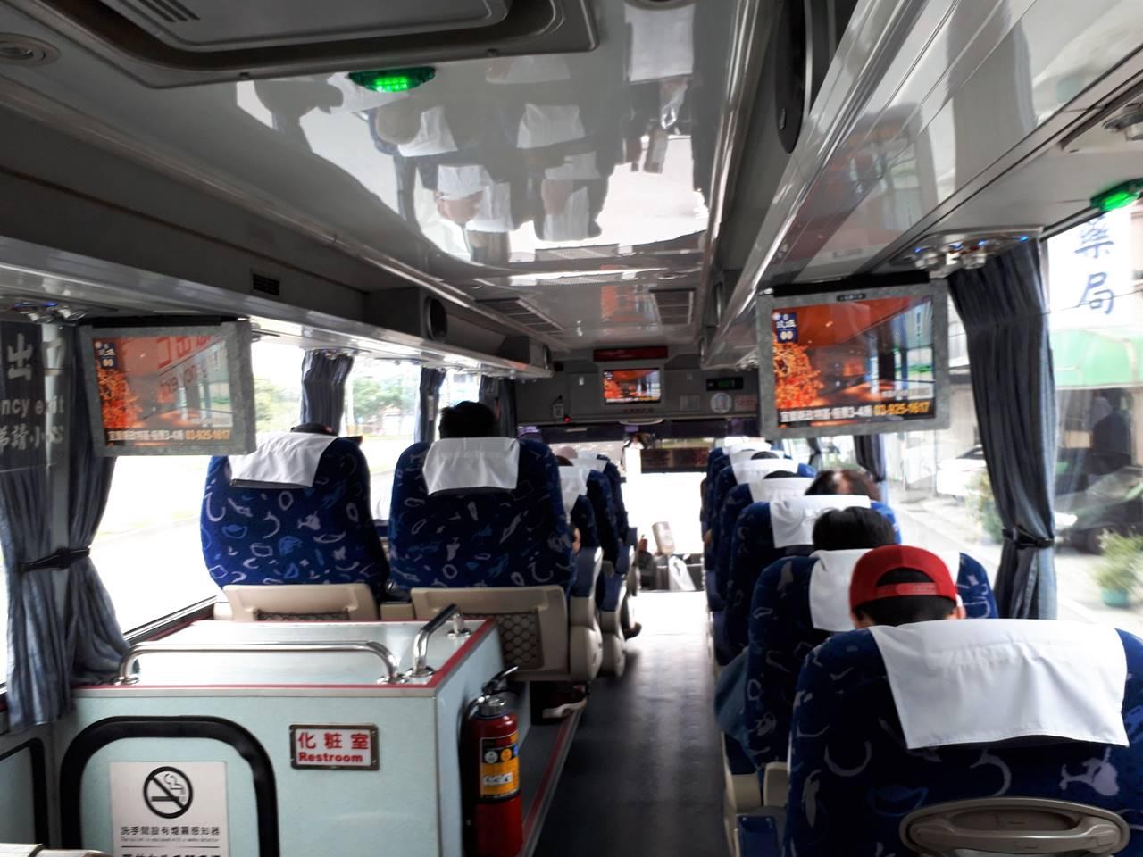 台湾・礁渓温泉から台北までの高速バス車内