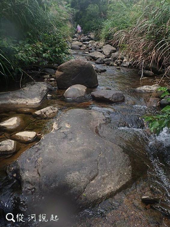 2_溪床上的大石產生了深淺快慢的水流變化。(圖片來源:人禾)