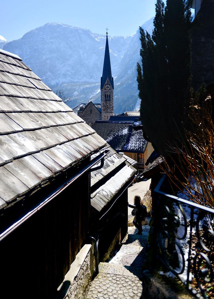 Calle Kirchenstiege, posiblemente una de las más bonitas de Hallstatt