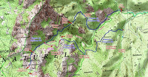 Carte du Haut-Cavu secteur Finicione avec les deux chemins HR1 (Finicione RG) et HR1bis (Finicione RD)