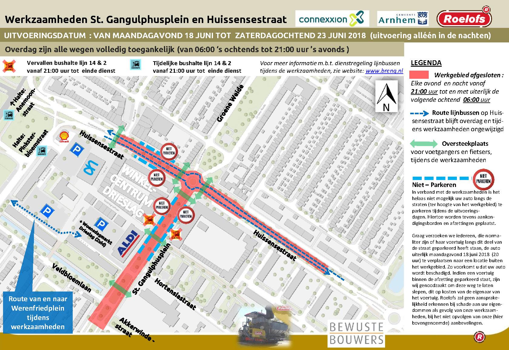 Werkzaamheden Huissensestraat en St. Gangulphusplein juni 2018