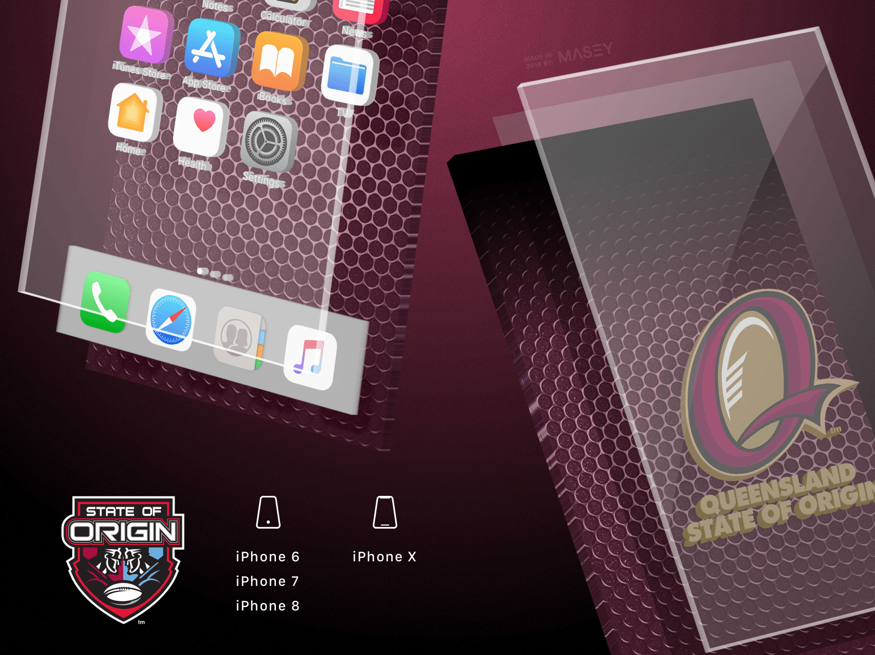QLD Maroons Metal iPhone Wallpaper