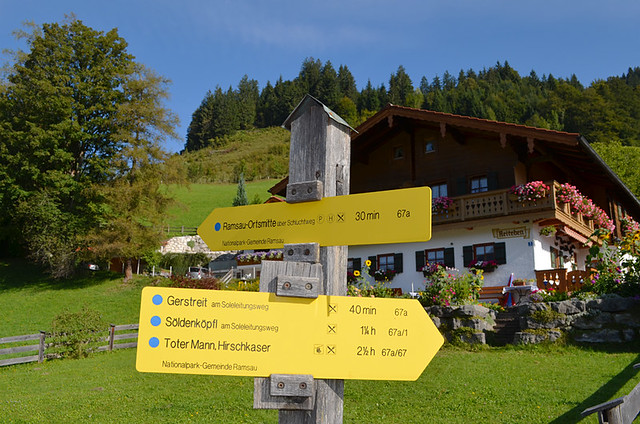 Timings on signposts, Germany
