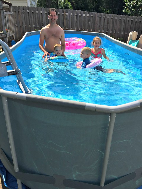 swimming in our new Costco pool