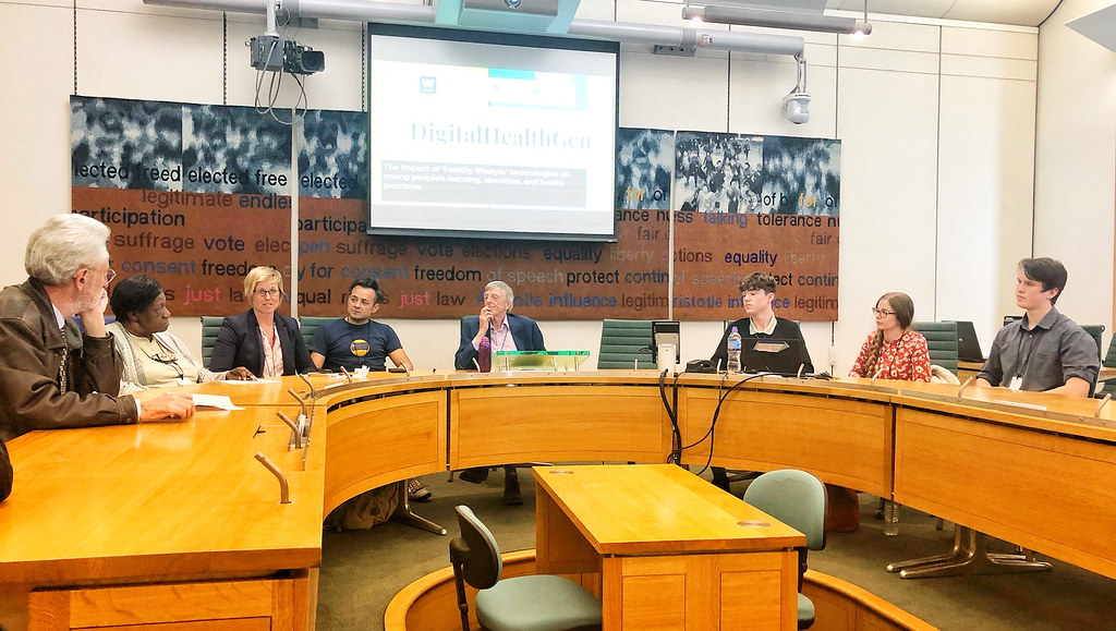 Researchers, including Dr Emma Rich, presenting preliminary findings from their Digital Health project at a recent Westminster event.