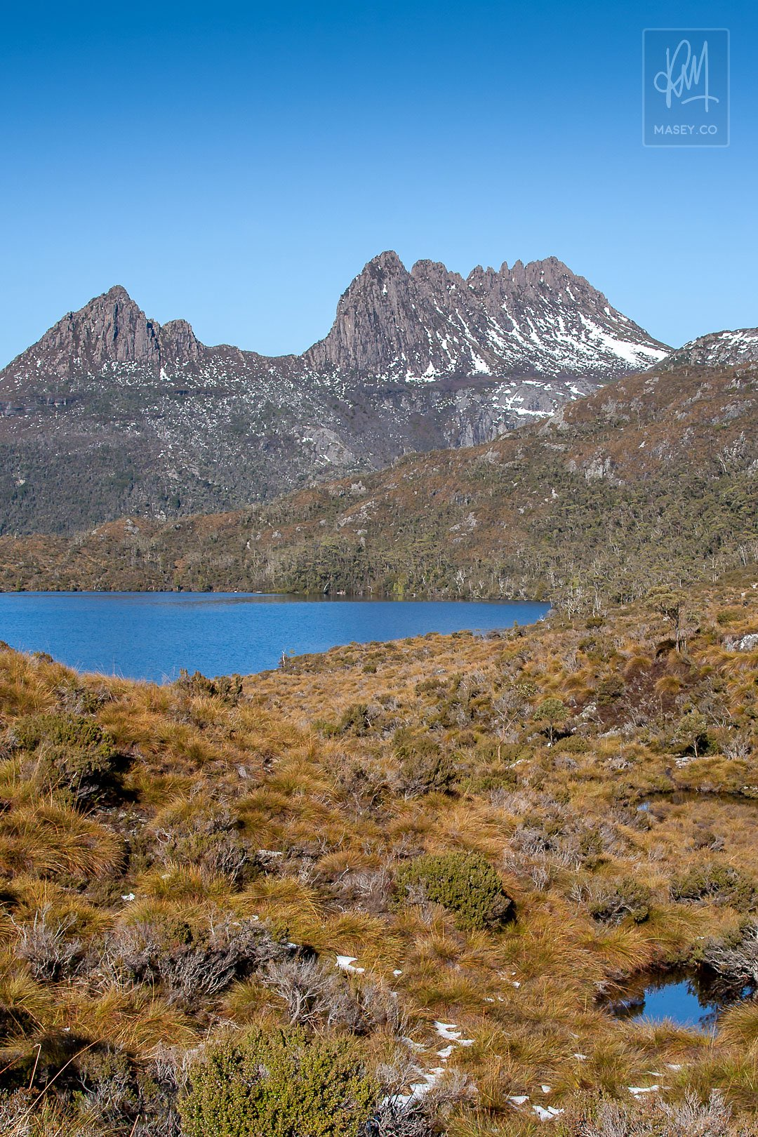 A view of cradle mountain in the distance