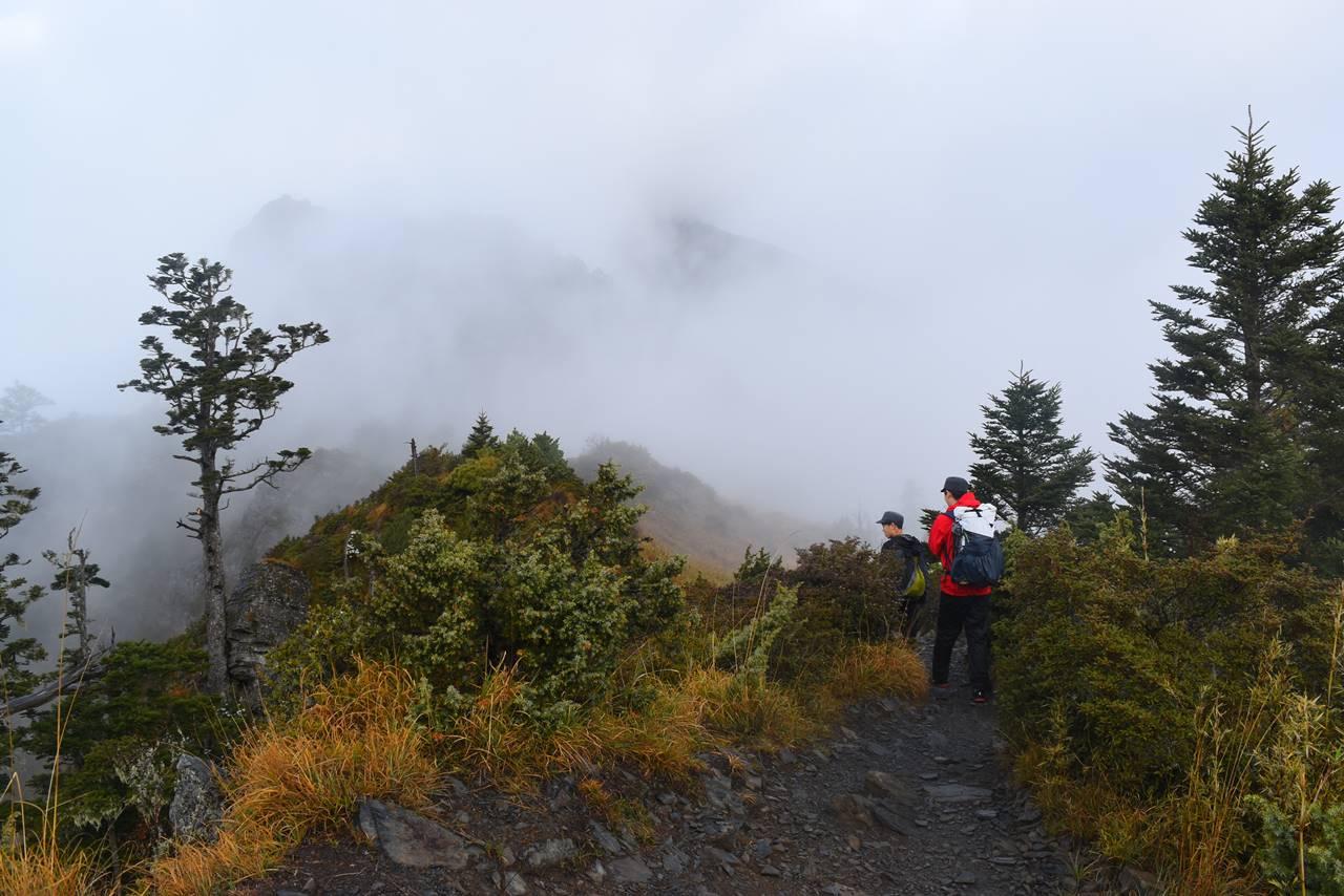 台湾・雪山 細かいアップダウンの稜線