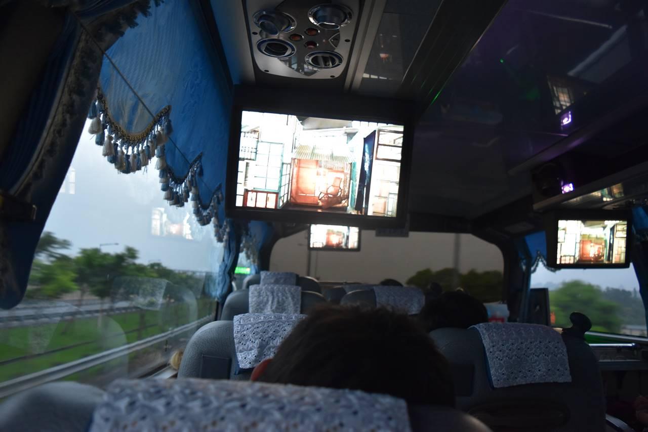 台北から宜蘭行きのバス車内
