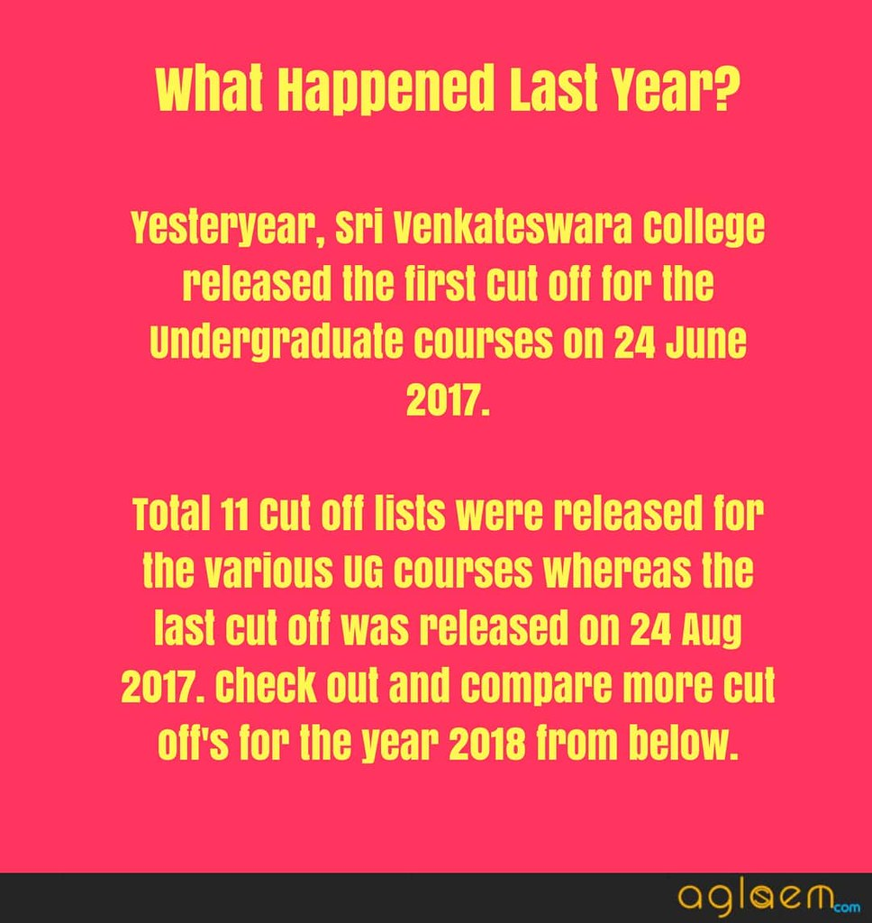 Sri Venkateswara College Cut off Released
