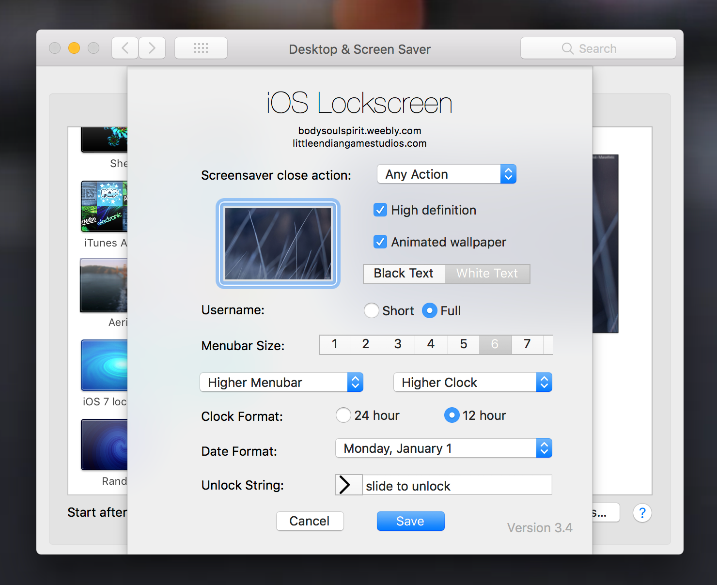 Tweak the screen saver settings
