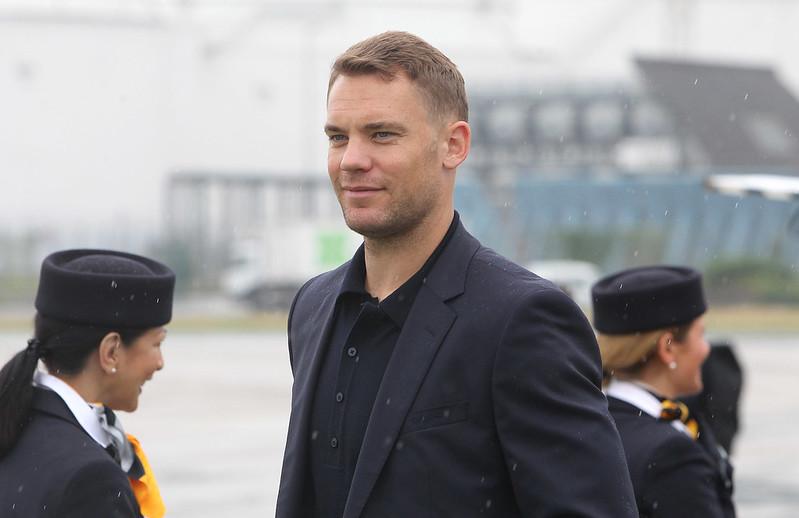 Manuel Neuer與他的德國隊友抵達莫斯科。(AFP授權)