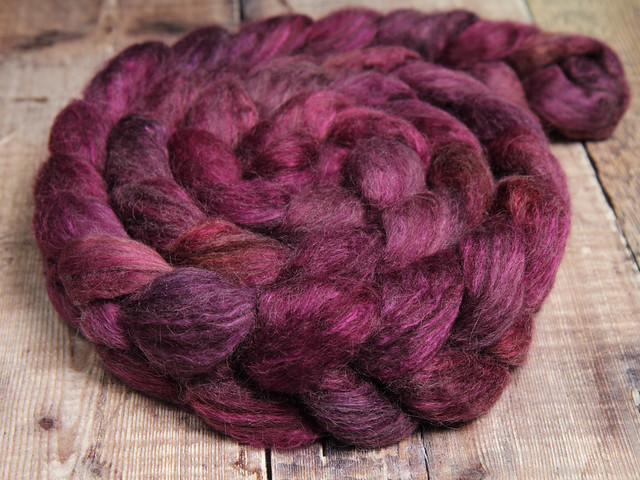 Lustre Blend fine British wool, merino, silk combed top/roving hand-dyed spinning fibre 100g – 'Dancing in the Dark' (purple)
