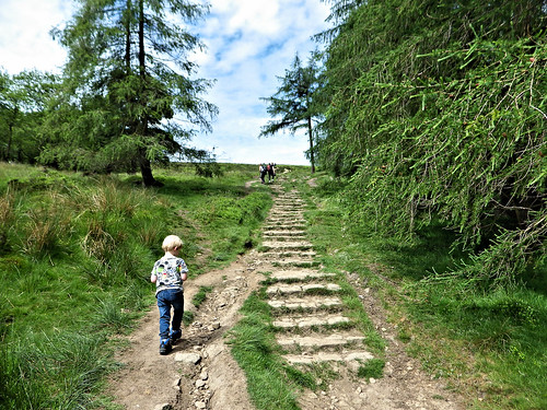 Ascending the final steps to the top of Win Hill