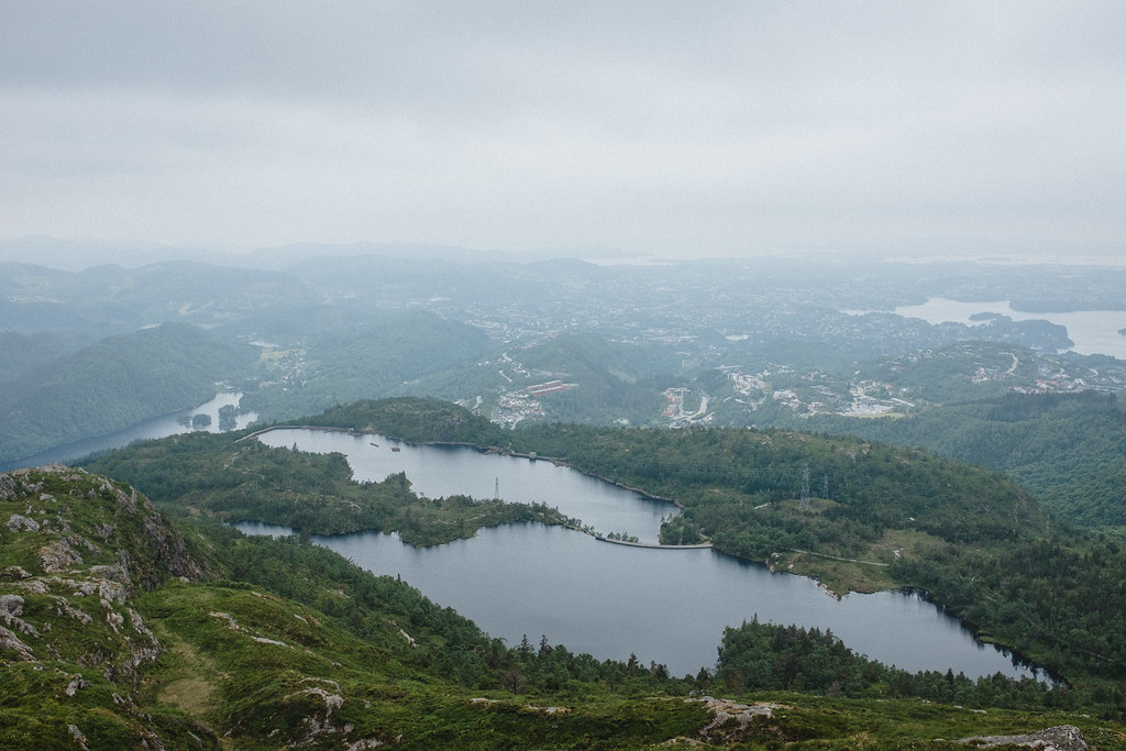 View over lakes and town from a mountain.