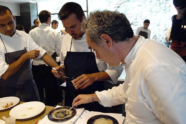 Ferran Adria with young chefs at El Bulli