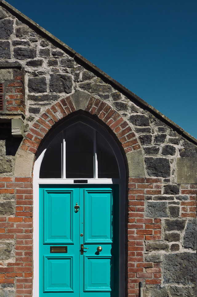 turquoise door of chapel