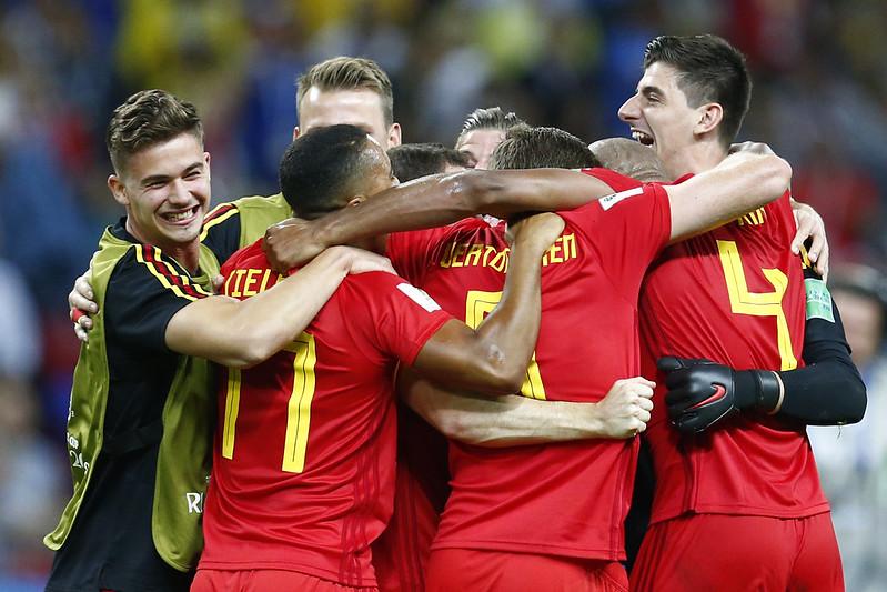 比利時慶祝擊敗巴西晉級4強。(AFP授權)