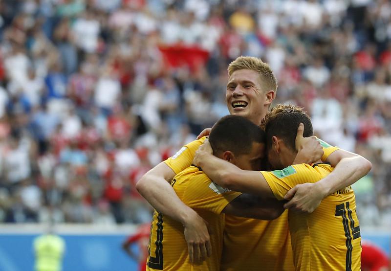比利時慶祝季軍戰踢進第2球。(達志影像)