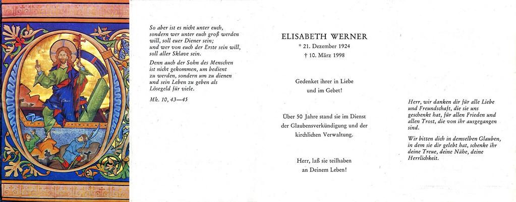 Totenzettel Werner, Elisabeth † 10.03.1998