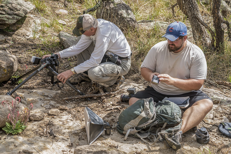 Jim and Matt photographing Echeveria strictiflora in the Davis Mountains