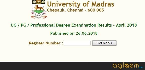 Madras University Result 2018 for UG, PG, Professional Degree