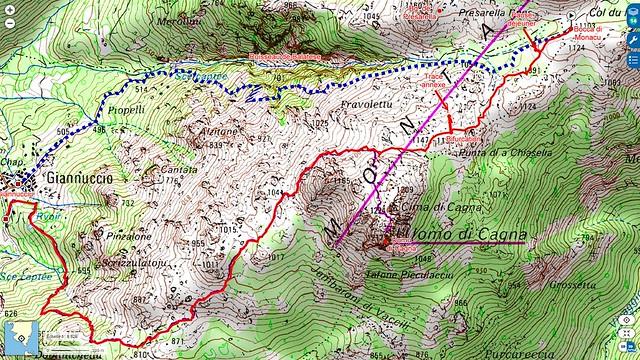 Carte IGN du secteur Bocca di Monacu - Giannucciu avec la trace suivie en rouge plein et la trace prévue en pointillés bleus