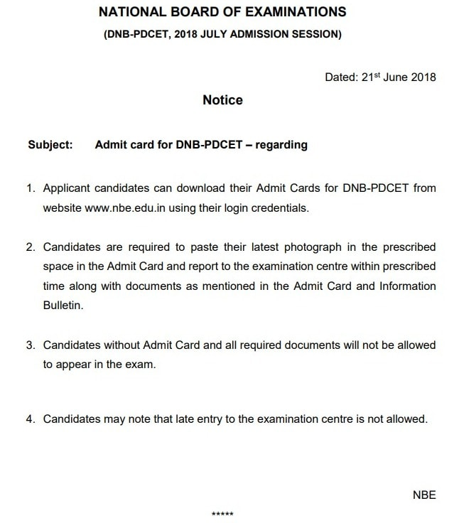 DNB PDCET 2018 Admit Card (available)   Download DNB Post Diploma CET Admit Card