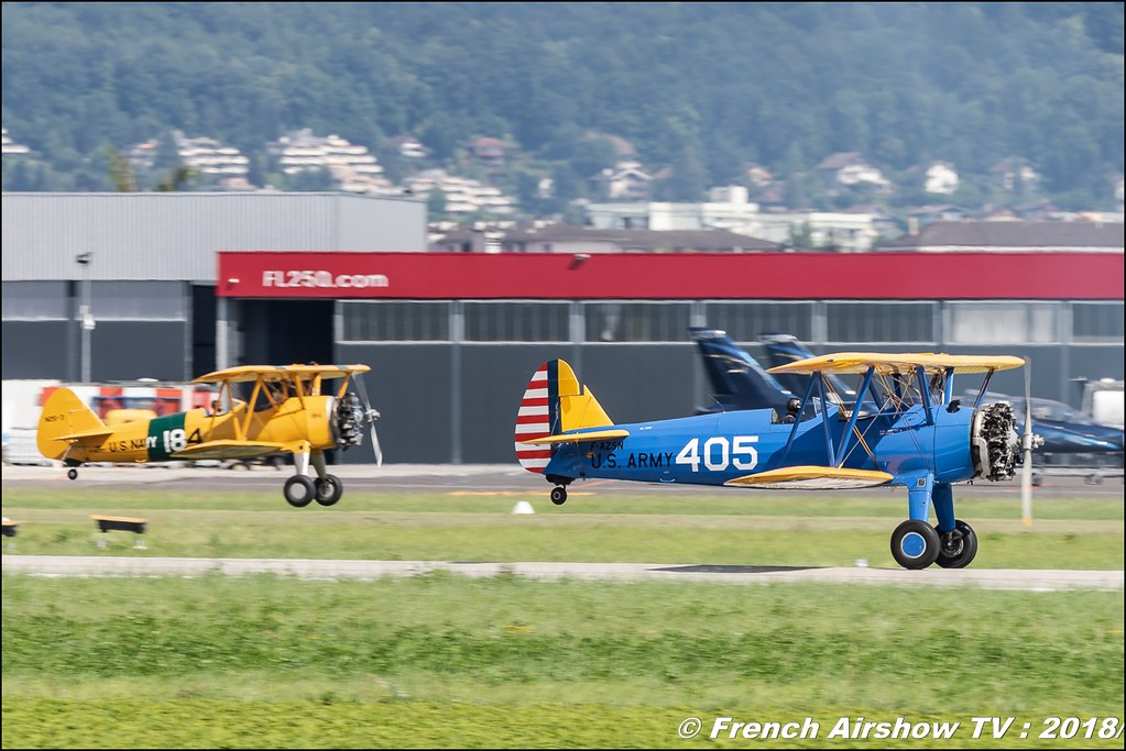 F-AZSN - Boeing Stearman- PT-17 Kaydet - F-AZST , AéroLac Annecy 2018 , Canon EOS , Sigma France , contemporary lens , Meeting Aerien 2018