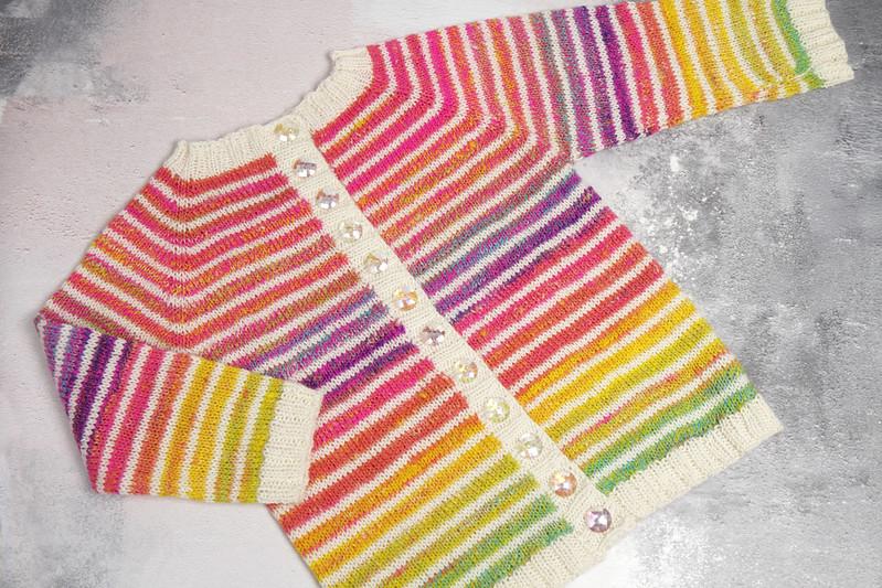 Toddler cardigan in rainbow gradient handspun