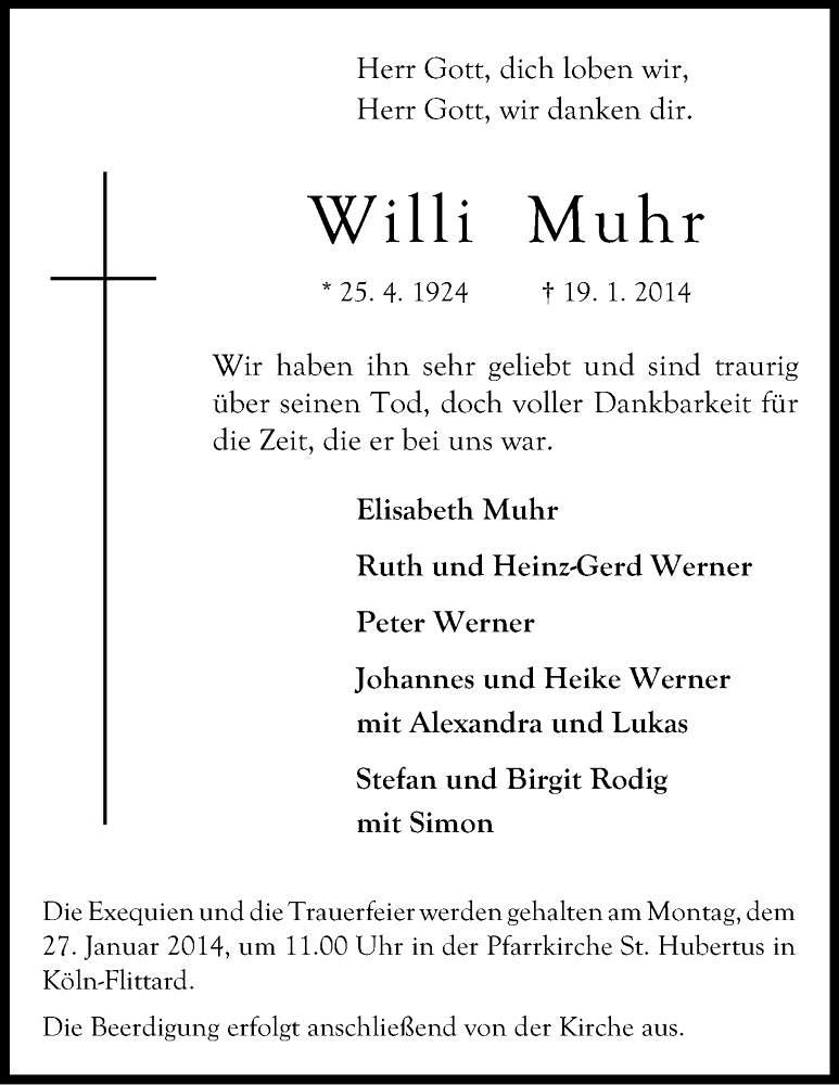 Totenzettel Muhr, Willi † 10.01.2014