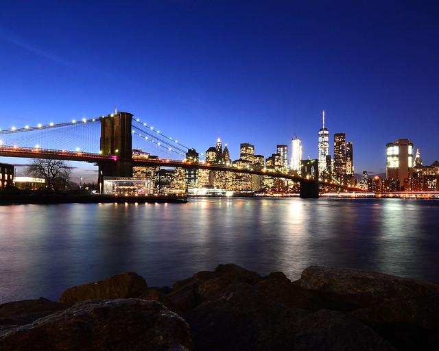 Hora mágica de Nueva York desde el mirador Dumbo