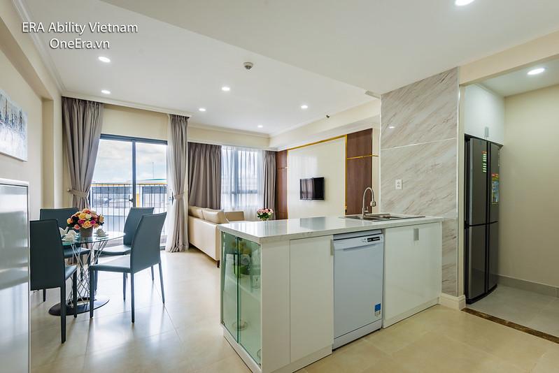 Phòng khách liên thông bếp căn hộ Masteri Thảo Điền