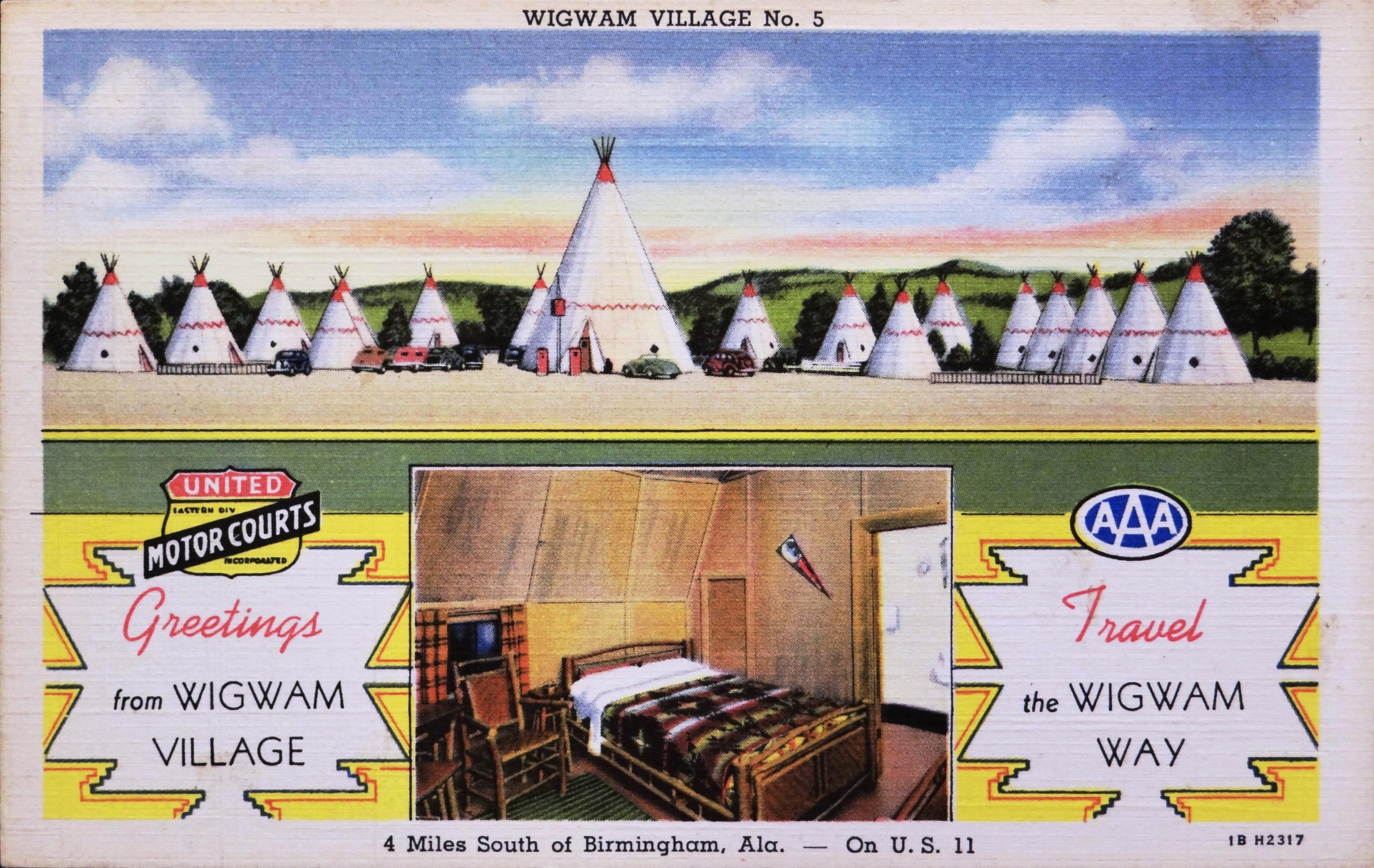 Wigwam Village No. 5 - Birmingham, Alabama U.S.A. - 1940's - Curt Teich & Company postcard 1B H2317