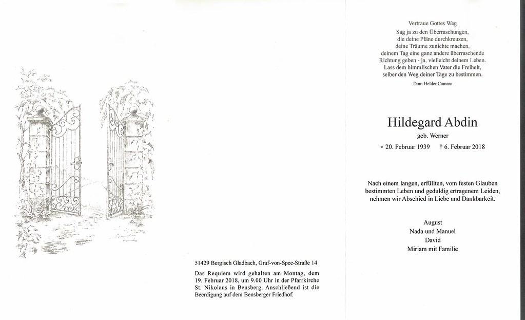 Totenzettel Werner, Hildegard † 06.02.2018