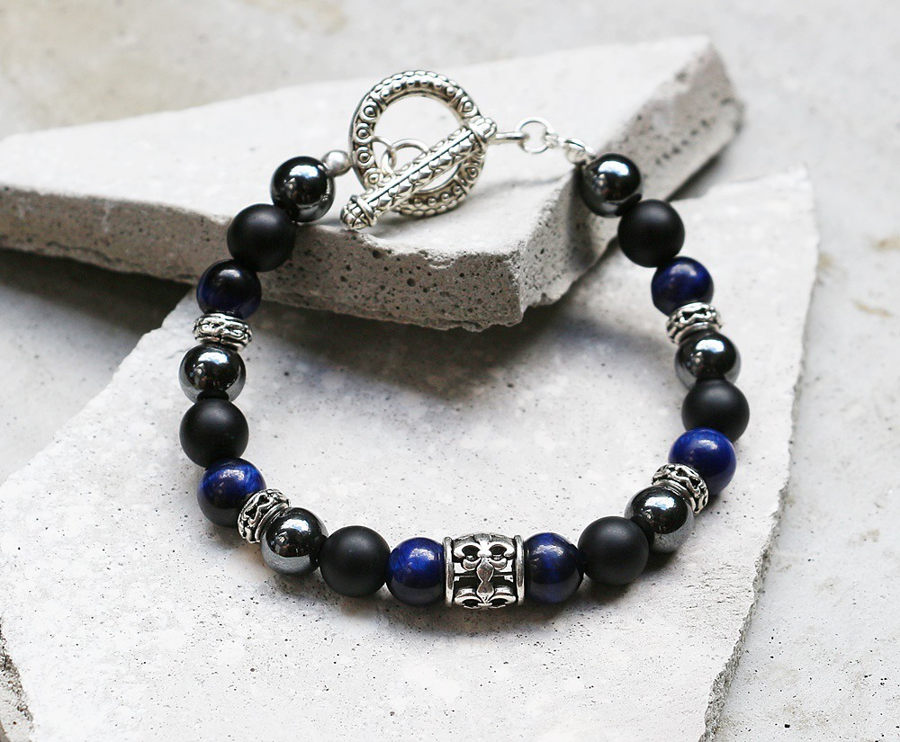 Promise Guardian Black Gallstone X Frosted Agate Blue Tiger Sterling Silver Wire Wrapped Necklace Labradorite Eye Material 8mm Alloy Components