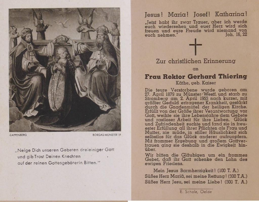 Totenzettel Kaiser, Käthe † 02.04.1953
