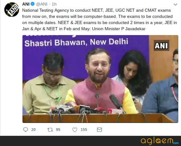 NTA JEE Main in Jan/Apr 2019 and NTA NEET in Feb/May 2019; Check official website and more here