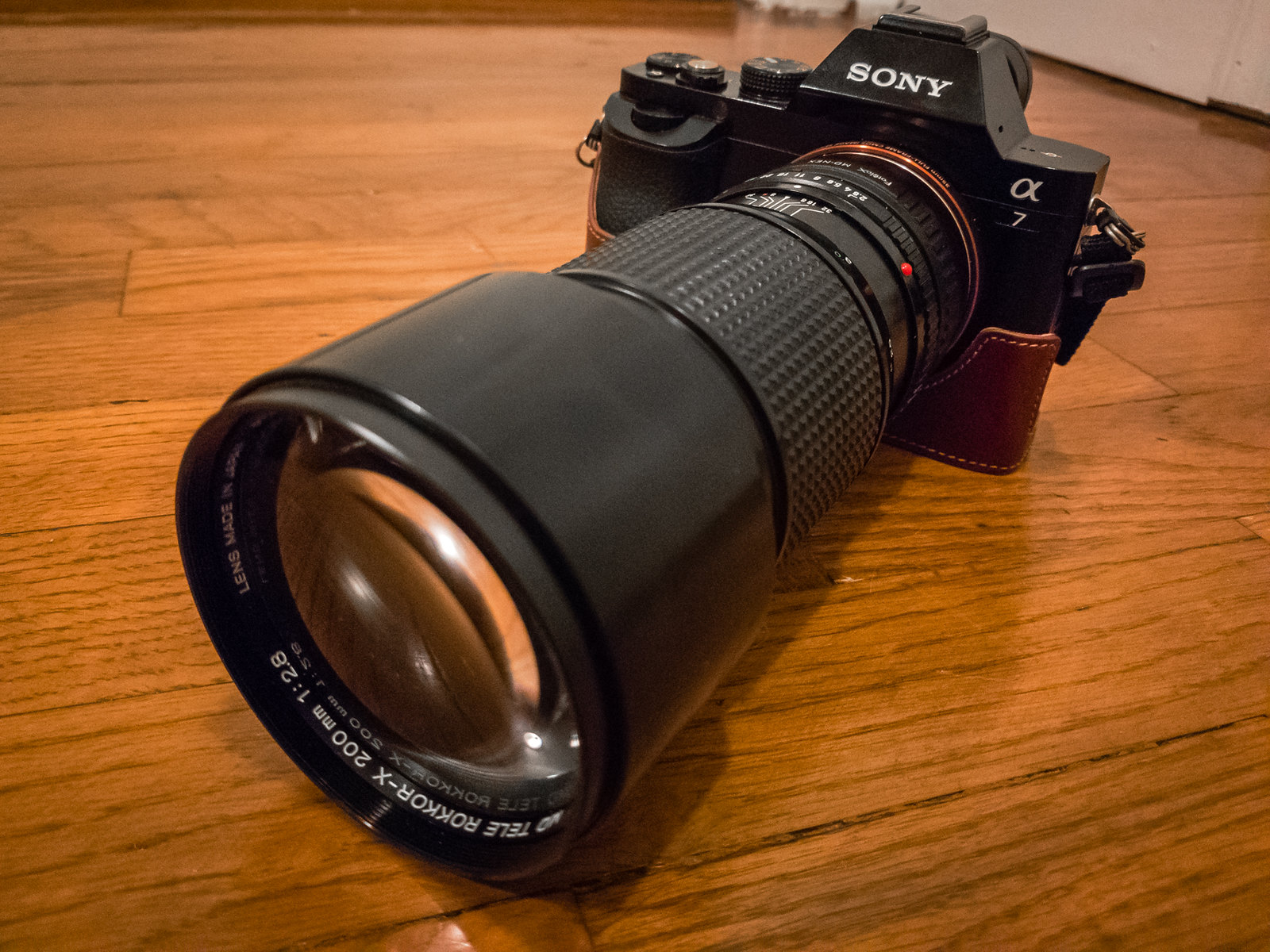 Sony A7 with Minolta Rokkor-x 200mm f/2.8 lens.