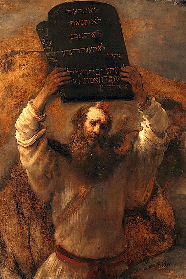 В гневе на еврейский народ Моисей разбивает скрижали Завета.