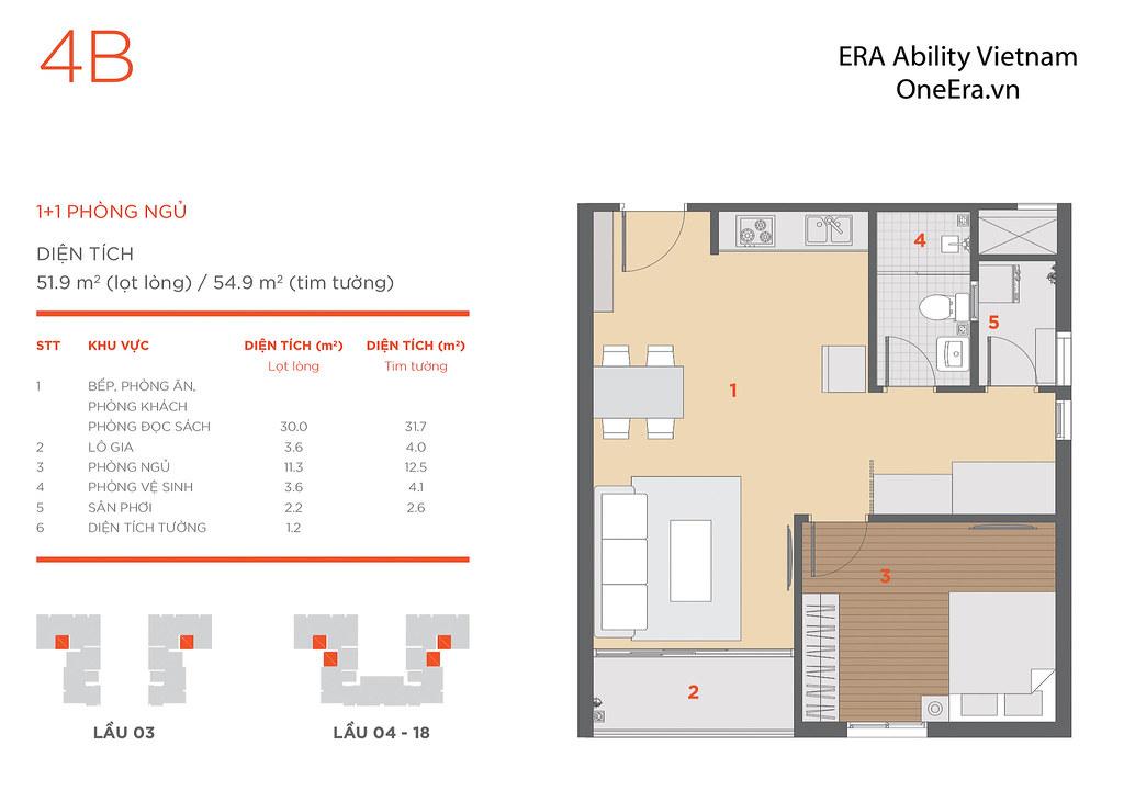 Mặt bằng tầng và thiết kế căn hộ Hausneo 52