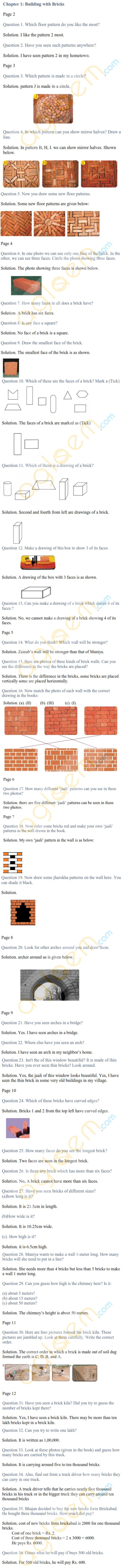 NCERT Solutions Class 4 Mathematics Chapter 1 Building with Bricks