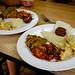 TK's Produce & Market Vegan/Vegetarian Buffet - Indian - Eggplant - Baingan bharta, Mediterranean, Malay Veggie Fish, and Carrot Rice