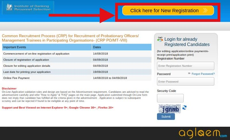 Registration Window of IBPS PO 2018